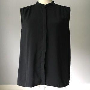 J Crew Sleeveless Button Down Black Blouse Size 12